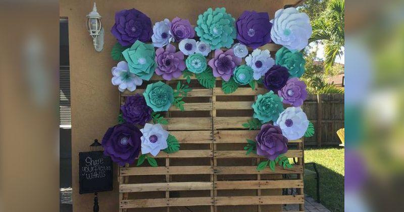 1.Paperboard flower backdrop