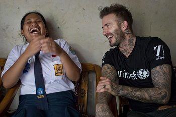 Momen spesial David Beckham bersama dua siswa Semarang