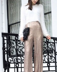 5. Fur sweater and culottes