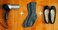 2. Longgarkan sepatu kulitmu hair dryer