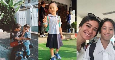 7 Potret Seleb yang Mengantar Anak Sekolah di Hari Pertama