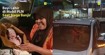 Penuh Haru, Seorang Mama Melahirkan Mobil PLN saat Banjir Jakarta
