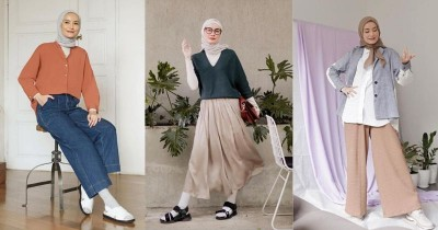 7 Potret OOTD Hijab Bernuansa Earth Tone a la Selebgram Dhatu Rembulan