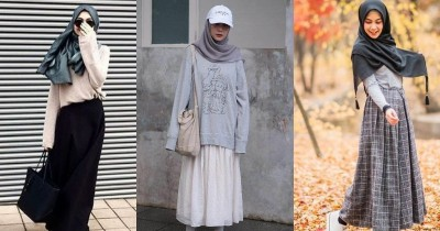 5 Mix and Match Long A One Line Skirt untuk Hijabers