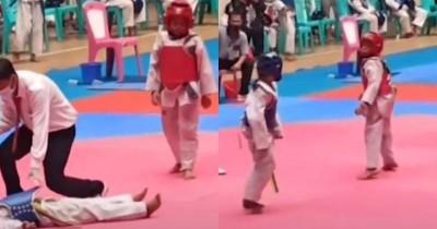 Viral Bocah Ini Menang KO Taekwondo Sekali Tendangan