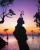 3. Foto siluet background langit berwarna ungu
